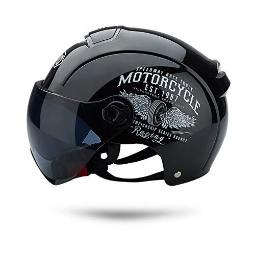 Galatee Cascos de Motocicleta Para Hombres y Mujeres, Ciclomotor Cascos Con Visera Reflectante.El cabezal anticolision protege la seguridad vial de los usuarios(Negro)