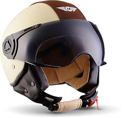 MOTO Helmets H44 - Helmet Casco de Moto, Beige/Vintage Beige, S (55-56cm)