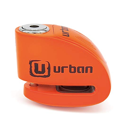 URBAN UR906N Candado Antirrobo Disco Alarma 120 db, Eje 6 mm Universal Moto Scooter Bici, Naranja Fluor, 6