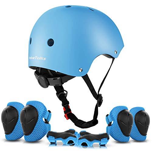 ValueTalks Proteccion Patinaje, Proteccion Infantil Consta de Casco Ajustable Rodilleras Coderas, Patinaje Ciclismo Monopatin y Deportes Extremos(Azul