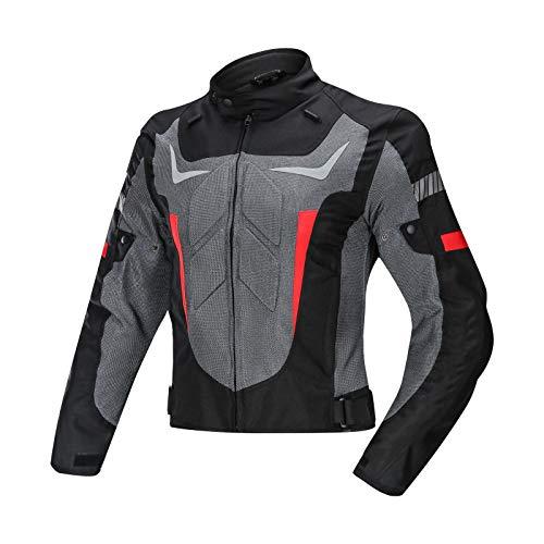 Chaqueta Moto Hombre con Armadura Motocicleta Cordura CertificacioN CETraje de Carreras,con Traje de piloto Protector y anticaida para Motocicleta,Producto Nuevo de 4 Temporadas B,M