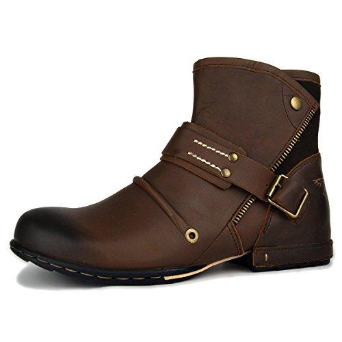 OSSTONE Botas para Moto Botines Hombre de Invierno Piel Zapatos Negras Vestir Nieve Piel Forradas Calientes Planas Combate Militares Cremallera Boots OZ-5008-7-Brown-10