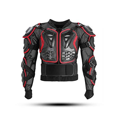 KINGUARD Chaqueta de Moto Chaqueta Protectora Cuerpo Armadura Profesional de Motocicleta Proteccion del Cuerpo Entero Spine Chest para Hombres Mujeres (Rojo, XXXL)
