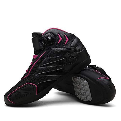 MRDEAR Zapatillas Deportivas Mujere Hombre Zapato Moto con Ajuste del engranaje, Botas de Moto Motocross Microfibra Transpirables Calzado Deportivo de Exterior Sneakers, Negro Morado (39 EU)