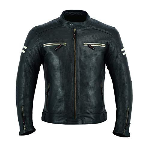 LJ-3027A Chaqueta de moto de cuero para hombre con armadura, transpirable y con perforaciones, color negro