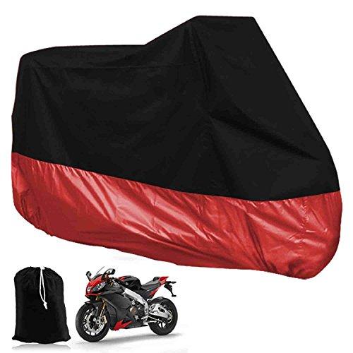 Funda para Moto Cubierta de Moto Protector Poliester Impermeable Reflectante Motocicleta Anti-Polvo Lluvia Nieve UV Agua Aire Libre con el Bolso del Almacenaje Talla XXL (265cm) Cubierta para Moto/Motocicleta Negro y Rojo