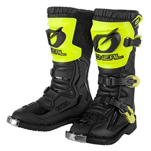 O'NEAL | Botas de Motocross | Moto Enduro | Malla de aire confortable, cuatro hebillas, material sintético de Perdurable | Botas Rider Pro Youth | Niños | Negro Neón Amarillo | Talla 2/34