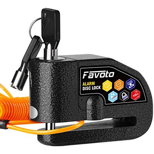 Favoto Candado de Disco de Freno Moto Dispositivo Antirrobo con 110dB Alarma Bloqueo de 7mm para Motos Motocicletas Bicicletas con Cable Recordatorio y Bolsa de Transporte Negro