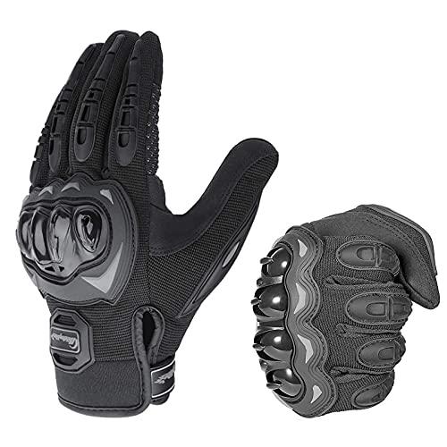 Diseño ergonómico especial: Hard Shell Knuckle Protection, las articulaciones de los dedos están hechas con protección anticolisión, protegen sus manos de impactos y lesiones por abrasión. Talla del guante: M ajusta para 7-8.4 cm / 2.75-3.3 pulgadas, L se ajusta para 8.5-9.4cm / 3.3-3.7 pulgadas, Ajustes XL para 9.5- 10cm / 3.7-3.93 pulgadas, Ajustes XXL para más de 9.5cmm / 3.74inch. Dedo con pantalla táctil: Contiene fibras metálicas conductoras en los dedos índice y pulgar, funciona con todos los dispositivos con pantalla táctil. Perfecto agarre y control: Diseño decorativo de gel de silicona resistente al desgaste en la parte de la palma, que aumenta el agarre del manillar. Buena transpirable: Hecho de malla de alta calidad, duradero y ligero, transpirable y cómodo, el diseño ajustable de la muñeca proporciona comodidad y soporte para deportes al aire libre, tela transpirable en la parte de dorso de la mano, permiten viento entra le traido fresco. Diseño de agujeros transpirable, muy cómodo de usar tanto en climas calurosos. Múltifunciones: Gran funcionamiento como guantes de la moto, guantes de montalismo para motocross, escalada, entrenamiento, etc. Es una parte indispensable de su proceso de conducción.