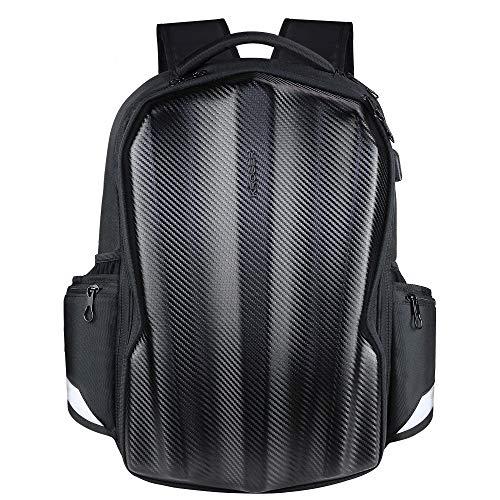 MATERIAL DURADERO: Esta elegante mochila para computadora portátil está hecha de tela de carbono resistente al agua duradera y de alta calidad; Dimensiones: 19.2