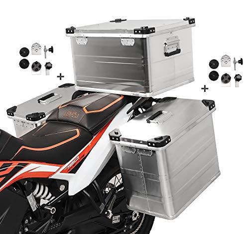 Volumen de entrega: 2x maleta aluminio de 45l, 1x baul aluminio 64L, 2x kit de montaje para el portaequipajes lateral de 16-18mm de diámetro. Hecho de aluminio extremadamente duradero de 1,5 mm de espesor, 100% impermeable Soportes laterales y soporte de baul no incluido. Set compuesto por 2x alforjas de aluminio de 45l, baul topcase 64l y kit de montaje para portaequipajes. El kit adaptador universal permite el montaje en maletas laterales de cualquier fabricante Adecuado para p.ej. : Givi Monokey PL, PLX, Hepco Becker Cutout Xplorer, Lock It, Seitenträger, Five Stars, Kappa, SW-Motech Trax, Fehling, Givi Cam-Side, Hepco Becker, Touratech Alforja dimensiones: Altura 36cm, profundidad 28cm, anchura 47cm, volumen 45L. Dimensiones baul: Altura 33cm, profundidad 43cm, anchura 53cm, volumen 64L Nota: Adecuado para portaequipajes redondos y cuadrados con 16 mm o 18 mm de diámetro. Protección antirrobo gracias al bloqueo desde el interior, las carcasas se pueden desmontar sin necesidad de herramientas