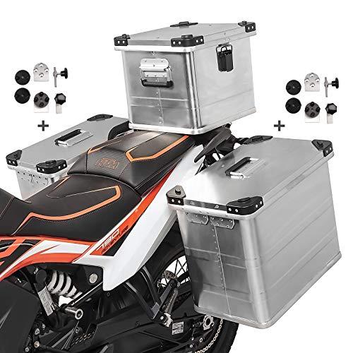 Volumen de entrega: 2x maleta aluminio de 45l, 1x baul aluminio 36L, 2x kit de montaje para el portaequipajes lateral de 16-18mm de diámetro. Hecho de aluminio extremadamente duradero de 1,5 mm de espesor, 100% impermeable Importante:Soportes laterales y soporte de baul no incluido.Set compuesto por 2x alforjas de aluminio de 45l, baul topcase 36l y kit de montaje para portaequipajes. El kit adaptador universal permite el montaje en maletas laterales de cualquier fabricante Givi Monokey PL, PLX, Hepco Becker Cutout Xplorer, Lock It, Seitenträger, Five Stars, Kappa, SW-Motech Trax, Fehling, Givi Cam-Side, Hepco Becker, Touratech Alforja dimensiones: Altura 36cm, profundidad 28cm, anchura 47cm, volumen 45L. Dimensiones baul: Altura 38cm, profundidad 34cm, anchura 30cm, volumen 36L Nota: Adecuado para portaequipajes redondos y cuadrados con 16 mm o 18 mm de diámetro. Protección antirrobo gracias al bloqueo desde el interior, las carcasas se pueden desmontar sin necesidad de herramientas