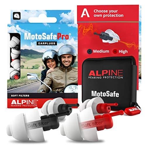 Alpine MotoSafe Pro Tapones para los oídos - Tapones para carreras y giras - Evita daños auditivos durante la práctica del motociclismo - El tráfico sigue siendo audible - Tapones reutilizables