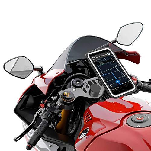 Desliza tu teléfono en el bolsillo. Pon en marcha el GPS. Sujeta la bolsa en el soporte que se puede montar y desmontar en menos de 30 segundos en tu moto sin necesidad de herramientas gracias a nuestro strap de silicona. Y disfruta El sistema magnético soporta hasta 9 kilos - Aceras, adoquines, badenes y probado a más de 240km/h...no se mueve. Además su sistema único permite una gran absorción de las vibraciones. Tu teléfono está a salvo Se Adapta a todas las motocicletas con semi manillares con un diámetro de columna de dirección que va de 11 a 25 mm. (Adaptadores incluidos en el producto) 3 tamaños de funda disponibles para cubrir el 100% de los teléfonos del mercado. Protege su teléfono de la lluvia manteniendo la capacidad de respuesta de la pantalla táctil. Salida para cargador/auricular Shapeheart es una joven start up francesa. Es en nuestro ADN ofrecer productos de alta calidad que satisfechan sus necesidades. Si recibe un producto defectivo, procedemos a un cambio inmediato. Si no está satisfecho, le devolveremos el dinero. Nuestro servicio postventa está disponible 7/7 en Amazon.