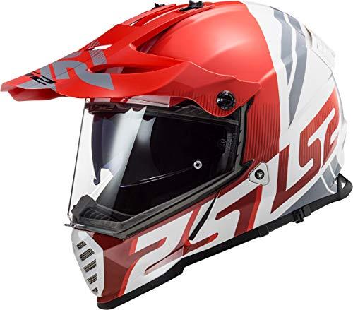 LS2 Pioneer EVO Evolve Casco de Moto, Hombre, Rojo y Blanco, Large