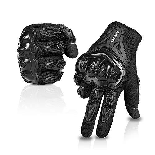 IRON JIA'S Par Guantes Dedo Completo PU Proteccion para Moto Bici Motocicleta Motorista puede pantalla tactil … (L, negro)