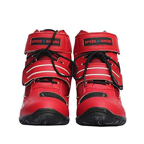 Botas de motocicleta motorista de la motocicleta que compite con los zapatos estilista corto tobillo de arranque zapatos de la pista de la motocicleta de rotacion tanques de agua para los ,Rojo,45