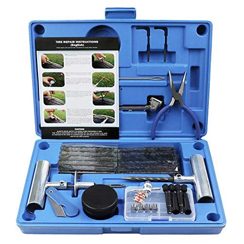 MAIKEHIGH Kit de Reparacion para Neumaticos Pesados - Juego de 67 Piezas para Motocicleta, ATV, Jeep, Camion, Tractor