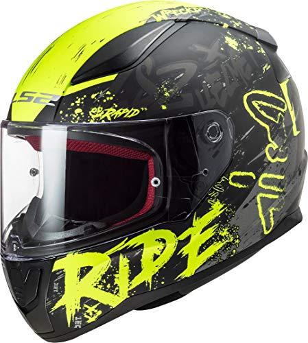 LS2 Rapid Naughty Casco de Moto, Hombre, Negro Amarillo, L
