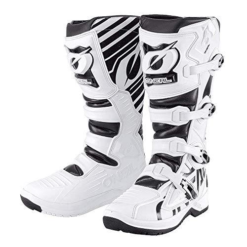 O'NEAL | Botas de Motocross | Enduro Motocross | Suela antideslizante para un máximo agarre, Zona ergonómica del talón, Forro perforado | Botas RMX | Adultos | Negro-Blanco | Talla 44