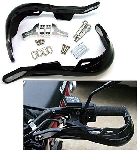 Interior de aluminio, plástico resistente y duradero en el exterior. Se incluyen todos los herrajes de montaje / Se monta en manillares de 22 mm (7/8) con un diámetro interno del manillar de entre 12 mm y 17 mm. Si tiene una motocicleta con fallas, asegúrese de medir con precisión antes de comprarlas, ya que pueden tocar el carenado en / cerca del bloqueo total de la dirección. NO se ajustan a ninguna motocicleta de 50cc de motocross y aunque son universales. Por favor, compruebe el tamaño en nuestra foto. Tal vez no se ajuste a su motocicleta.