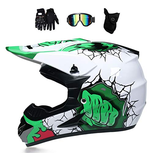 VOMI Casco Motocross Blanco y Verde con Gafas Mascara Guantes, Casco Moto Cross Infantil Nino para Enduro MX Quad Off Road ATV Scooter,S