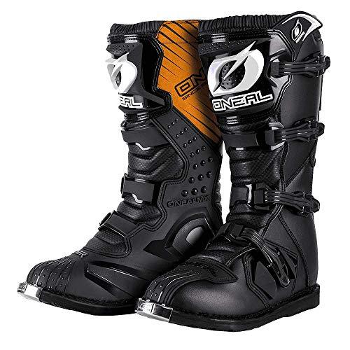 O'NEAL | Botas de Motocross | MX Enduro | Protección de la suela de metal, comodidad gracias a la tela de malla de aire, hebillas fácilmente ajustables | Bota de piloto | Adultos | Negro | Talla 40