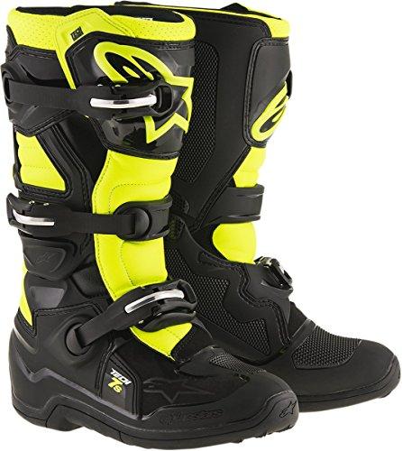 Alpinestars Unisex-Child Tech 7S - Botas juveniles (negro/amarillo, talla 8)