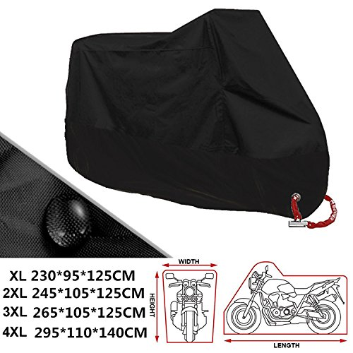 LOVE YOUR MOTORCYCLE JUST AS YOUR LIMO CARS - If you resolve NOT to waste too much money on the damage caused by Heavy Rain, Snow, Dust, Scratches and the Sun, you should learn how to protect you precious motorcycle. The ANFTOP motorcycle cover will provide an EXCELLENT INDOOR / OUTDOOR PROTECTION for your motorcycle DURABLE & WATERPROOF PROTECTION: ANFTOP motorcycle cover is made of SUPERIOR WATERPROOF 190T Polyester cloth material with PU coating, which makes it more DURABLE. ANFTOP motorbike cover has a good breathable performance Elasticated Hems: rear elastic hems, better design, prompting your precious motorbike and cover tightly fit together. Lock-holes from front wheel : Diameter is 3.8 cm, enabling cover to be locked to motorbike via front wheel, for a double security while providing an fully vented protection from all kinds of bad weather. Safety buckle from rear wheel : Firmly fasten the cover from the rear wheel, even if the wind blowing strong, it will not be able to blow off your cover.