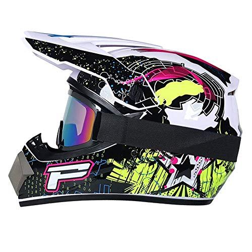R&P Casco de motocross, para adultos, para exteriores, casco de bicicleta de montana, de cara completa, para motocross, todoterreno, motocross, motociclismo (Negro brillante-blanco,M)
