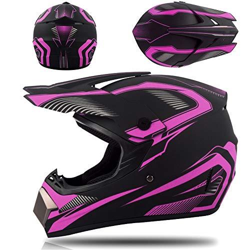 Casco de motocross - Casco de moto de cara completa con visera para todoterreno y carreras - Set para ATV con casco, gafas de seguridad, mascarilla y guantes, para adultos y niños