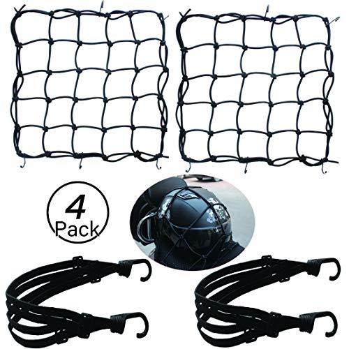 ❤ Ontenido del paquete:2Red de equipaje es de 40 * 40 cm cada una con 6 ganchos+2cinturón de equipaje es de 60 cm . ❤ Alta calidad: La red del equipaje y el cinturón del equipaje están hechos de nylon duradero, buena calidad y elasticidad para garantizar su vida útil. ❤ Fácil de usar:Fácil de usar, práctico. Adecuado para cascos, Fútbol, chaqueta, maleta pequeña, etc. para mantenerlos estables y seguros en el camino. ❤ Fácil de almacenar: Una bolsa con cordón permite recogerla y guardarla sin que los ganchos queden sueltos. Los ganchos ajustables son móviles para adaptarse a los puntos de fijación existentes en los vehículos y portaequipajes. ❤ Amplio uso: La red para cargas pesadas es ideal para organizar mercancías sueltas, voluminosas o de forma incómoda. Perfecta para bacas de coche, portaequipajes, ATV, portabicicletas, cestas de bici, cestas de moto, UTV, motojeeps, motonieves, cajas de carga, etc,Accesorios para deportes al aire libre.