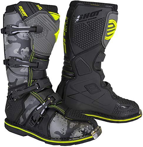 Shot X10 2.0 Camo - Botas de motocross, color amarillo, talla 42
