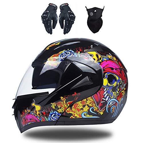 Tamaño y peso: El producto pesa unos ligeros 1450 gramos. Tamaño del casco - S: 55-56CM / M: 57-58CM / L: 59-60CM / XL: 61-62CM. Mida exactamente la circunferencia de la cabeza y luego seleccione el tamaño. (Recomienda comprar una talla más grande) Conjunto de casco para motocicleta: incluye cascos, mascarillas, guantes de motocicleta, un total de tres conjuntos, gran valor. Visor solar doble: las lentes de los cascos tienen una alta tenacidad a la fractura, se pueden mover y quitar, y pueden cumplir su deseo. Las lentes de casco pueden proteger su cara, así como atrapar el viento y protegerlo de la luz ultravioleta. Materiales de alta calidad: carcasa de ABS neumática, carcasa interna de EPS, refuerzo de barbilla de liberación rápida. Estuche compacto, interior acolchado suave, bien hecho y cómodo de llevar. Sistema de ventilación: aberturas de ventilación ajustables para mantener la circulación de aire en el casco. Para una experiencia de conducción cómoda con una visión clara y una cabeza fría. Forro totalmente desmontable y lavable que mantiene el casco limpio, fresco y sin olores.