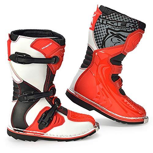 AJL Zapatos de la Motocicleta blindado Largo Tobillo proteccion contra choques - Botas de Moto nino, al Aire Libre rotacion ninos de la Ciudad Urbana Botas Anti Skid Suela de Goma (Size : 32)