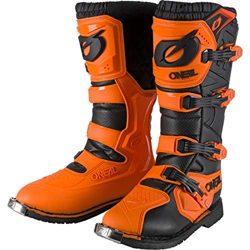 O'NEAL | Botas de Motocross | Moto Enduro | Comodidad gracias a la manga de malla de aire, cuatro hebillas, material sintético de Perdurable | Botas Rider Pro | Adultos | Naranja | Talla 45