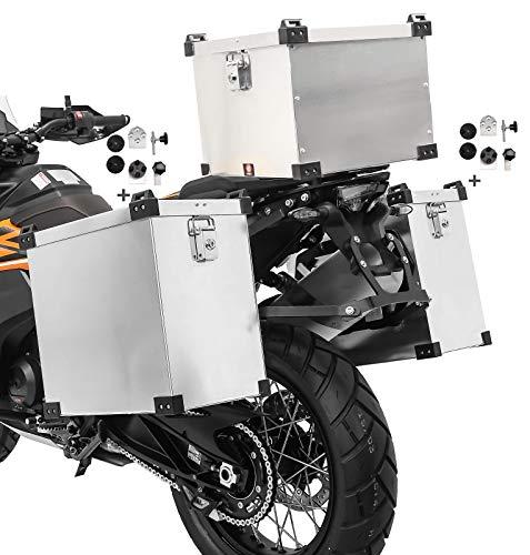 Volumen de entrega: 2x maleta aluminio de 35l, 1x baul aluminio 38L, 2x kit de montaje para el portaequipajes lateral de 16-18mm de diámetro. Importante: Soportes laterales y soporte de baul no incluido Nota: Adecuado para portaequipajes redondos y cuadrados con 16 mm o 18 mm de diámetro. Protección antirrobo gracias al bloqueo desde el interior, las carcasas se pueden desmontar sin necesidad de herramientas Alforja dimensiones: Altura 39cm, profundidad 39,5cm, anchura 22,5cm, volumen 35L. Dimensiones baul: Altura 31cm, profundidad 37cm, anchura 33cm, volumen 38L. El kit adaptador universal permite el montaje en maletas laterales de cualquier fabricante Set compuesto por 2x alforjas de aluminio de 35l, baul topcase 38l y kit de montaje para portaequipajes. Hecho de aluminio extremadamente duradero de 1,5 mm de espesor, 100% impermeable. Adecuado para p.ej. Givi Monokey PL, PLX Hepco Becker Cutout Xplorer, Lock It, Seitenträger Five Stars Kappa SW-Motech Trax Fehling Givi Cam-Side Hepco Becker Touratech