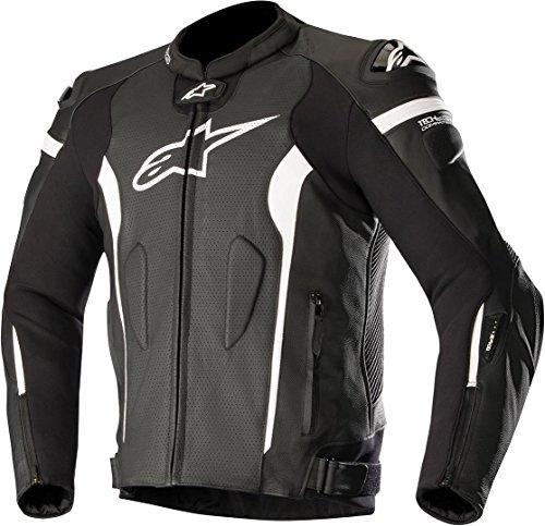 Alpinestars Chaqueta moto Missile Leather Jacket - Tech-air Compatible Black White Air, Negro/Blanco, 56