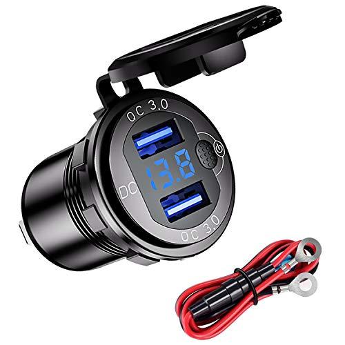 YGL Cargador Rápido de Aluminio QC3.0 Cargador de Coche Dual USB con Pantalla de Voltaje del Botón de Interruptor Adecuado para 12V / 24V Coches Barcos Motos(Negro)