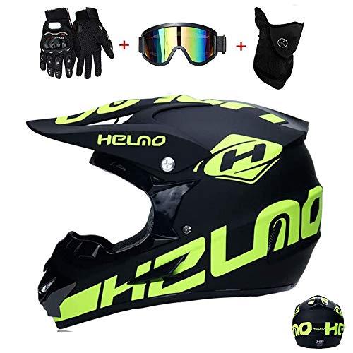 GAODA Casco de motocross, para adultos para exteriores casco de bicicleta de montana, Cross Integral Enduro Infantil Casco Motocross con Gafas, Mascarilla, Guantes. (XL)