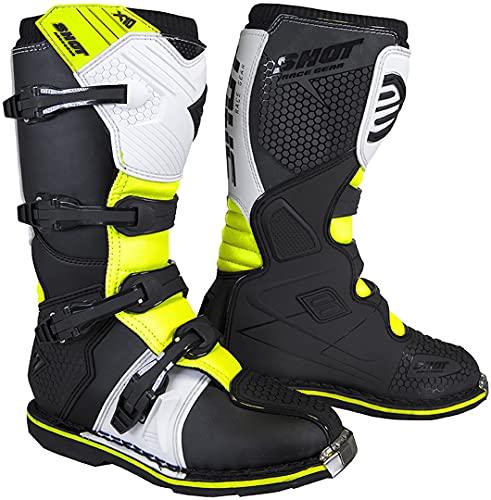 Shot X10 2.0 - Botas de motocross, color negro, blanco y amarillo, talla 46