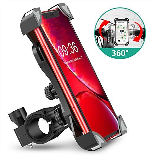 Cocoda Soporte Movil Bici, 360° Rotación Soporte Movil Moto Bicicleta, Anti Vibración Porta Telefono Motocicleta Compatible con iPhone 12 Pro Max/12 Mini/11 Pro MAX/XS/XR y Otro 4.5-7.0
