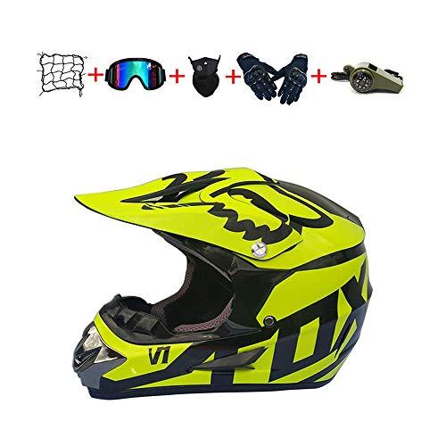 🎁🎁🎁 Casco Moto Niño :el código S 52-53CM el código M es 54-55CM, el código L es 56-57CM, el código XL es 58-59CM,Antes de comprar, mida la circunferencia de su cabeza de acuerdo con el método de la imagen para asegurarse de comprar el tamaño correcto.(muy importante) 🎁🎁🎁 Casco Motocross : nuevo en la caja, viene con gafas de motocross, Red Elástica,Silbato de supervivencia,guantes y máscara, (6 piezas, ¡excelente relación calidad-precio!)peso del casco aprox 950 g (+/- 50 g),Apenas puedes sentir el casco, así que conducir es más divertido.cómodo de usar en climas cálidos e inviernos suaves 🎁🎁🎁 Casco de Moto Para Niños Downhill : casco de la motocicleta no sólo protege la cabeza, sino que también reduce los efectos en los ojos cuando se conduce a altas velocidades. Adecuado para los conductores de motocicletas de motocross, esquí de fondo, moto de calle, fuera de la carretera, vehículos todo terreno, BTT, cuesta abajo moto, bicicleta de cross, BMX y más. 🎁🎁🎁 Cascos de Cross de Moto :diseño aerodinámico cáscara externa del ABS, EPS carcasa interior, correa de barbilla reforzado con cierre rápido, extremadamente robusto y resistente a los impactos. revestimiento en parte extraíble y lavable que mantiene el casco limpio, fresco y sin olor. 🎁🎁🎁Casco de motocicleta Servicio: si tiene alguna pregunta, no dude en ponerse en contacto con nosotros. Nos esforzamos por ofrecerte el mejor servicio.