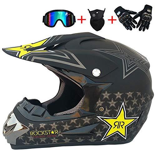 * CONJUNTO DE CASCO CRUZADO: nuevo en la caja, viene con gafas de motocross, guantes, máscara. (4 piezas) * CASCO OFFROAD Tamaño: S: 52-53 cm / M: 54-55 cm / L: 56-57 cm / XL: 58-59 cm. Adecuado para: Motocross / ATV / off road / endurance racing / downhill / MTB / dirt bike / ATV / BMX / enduro / quad / mountain bike / pocket bike * MOTOCROSSHELM: carcasa del casco aerodinámico ABS, carcasa interior EPS, correa de barbilla reforzada con liberación rápida * ENDURO HELMET MTB: el nuevo casco pesa solo 960 gramos. Difícilmente sentirá el casco en su cabeza, por lo que conducir es aún más divertido. Para una experiencia de conducción cómoda con una vista clara y una cabeza fría * CASCO MTB FULLFACE: forro parcialmente extraíble y lavable que mantiene el casco limpio, fresco e inodoro. Proporcione espacio adicional para usar auriculares y gafas con Bluetooth, incluidas las gafas