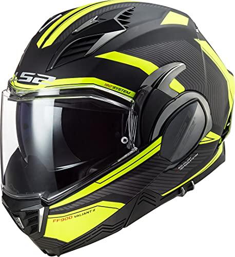 LS2 Valiant II REVO Casco de Moto, Hombre, Negro Amarillo, XL