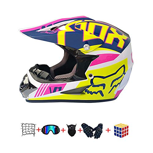 🎁🎁🎁 Casco Moto Niño :el código S 53-54CM el código M es 55-56CM, el código L es 57-58CM, el código XL es 59-60CM,Antes de comprar, mida la circunferencia de su cabeza de acuerdo con el método de la imagen para asegurarse de comprar el tamaño correcto.(muy importante) 🎁🎁🎁 Casco Motocross : nuevo en la caja, viene con gafas de motocross, Red Elástica,Cubo de rubik,guantes y máscara, (6 piezas, ¡excelente relación calidad-precio!)peso del casco aprox 950 g (+/- 50 g),Apenas puedes sentir el casco, así que conducir es más divertido.cómodo de usar en climas cálidos e inviernos suaves 🎁🎁🎁 Casco de Moto Para Niños Downhill : casco de la motocicleta no sólo protege la cabeza, sino que también reduce los efectos en los ojos cuando se conduce a altas velocidades. Adecuado para los conductores de motocicletas de motocross, esquí de fondo, moto de calle, fuera de la carretera, vehículos todo terreno, BTT, cuesta abajo moto, bicicleta de cross, BMX y más. 🎁🎁🎁 Cascos de Cross de Moto :diseño aerodinámico cáscara externa del ABS, EPS carcasa interior, correa de barbilla reforzado con cierre rápido, extremadamente robusto y resistente a los impactos. revestimiento en parte extraíble y lavable que mantiene el casco limpio, fresco y sin olor. 🎁🎁🎁Casco de motocicleta Servicio: si tiene alguna pregunta, no dude en ponerse en contacto con nosotros. Nos esforzamos por ofrecerte el mejor servicio.