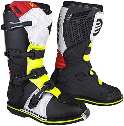 Shot X10 2.0 Black Neon - Botas de motocross (talla 46), color negro, blanco, rojo y amarillo