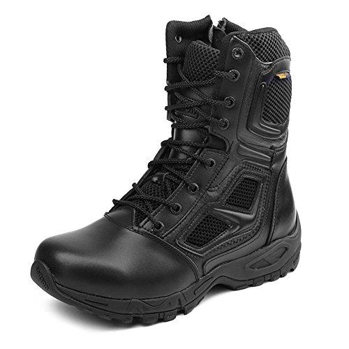 IODSON Zapatos de Hombre Botas/Botas de Combate/Botas Tacticas Ultra-Ligero Antideslizante Tela de Cuero Verdadero Transpirable JR-631 43 EU