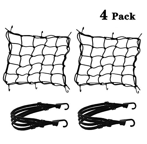 El paquete incluye: 2 redes de equipaje de araña flexibles + 2 correa de equipaje elástica Red de equipaje: Material: elástico. Accesorios: 6 ganchos (con recubrimiento de plástico). Tamaño: alrededor de 40 * 40 cm. Cuerda elástica: Material: elástico. Accesorios: 2 ganchos. Longitud: sobre 60cm. Fácil de usar, práctico. Adecuado para cascos, Fútbol, chaqueta, maleta pequeña, etc. para mantenerlos estables y seguros en el camino. El diseño de la grilla facilita la unión de elementos irregulares Red de equipaje: Material: elástico. Accesorios: 6 ganchos (con recubrimiento de plástico). Tamaño: alrededor de 40 * 40 cm. Cuerda elástica: Material: elástico. Accesorios: 2 ganchos. Longitud: sobre 60cm. Fácil de usar, práctico. Adecuado para cascos, Fútbol, chaqueta, maleta pequeña, etc. para mantenerlos estables y seguros en el camino. El diseño de la grilla facilita la unión de elementos irregulares, las combinaciones pueden soportar múltiples objetos, para proporcionar un espacio mayor. Adecuado para bolsa de equipaje Bicicleta Motocicleta al aire libre, mantenerlo estable