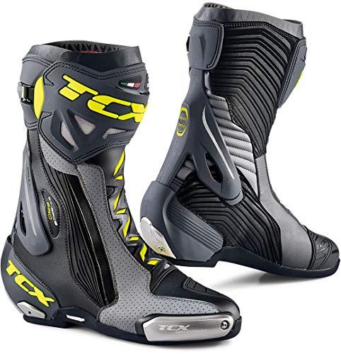 TCX RT-RACE Pro Air - Botas de moto (talla 46), color negro, gris y amarillo fluorescente, color negro y gris